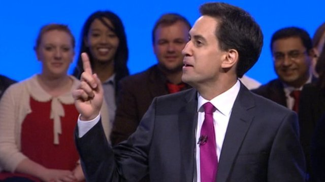 Ed Miliband addressing party conference