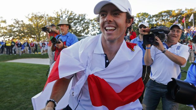 Rory McIlroy celebrates Europe's remarkable Ryder Cup victory