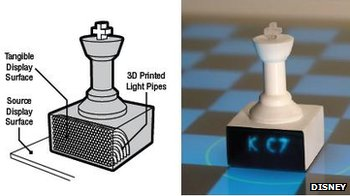 Chess pieces with built-in light pipes