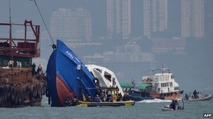 The Lamma IV pleasure boat being recovered on 2 October 2012