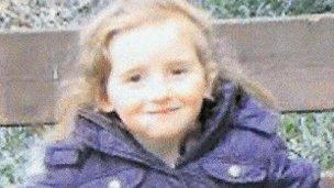 April Jones in the purple coat she was believed to be wearing