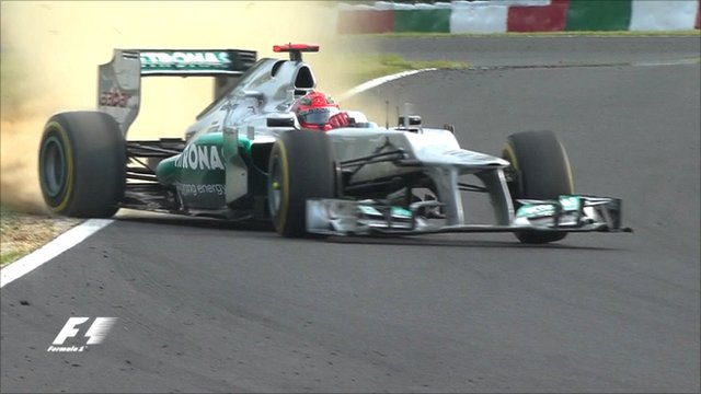 Michael Schumacher crashes at Japanese Grand Prix practice