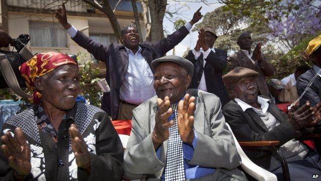 The claimants, (l-r) Jane Muthoni Mara, Wambuga Wa Nyingi and Paulo Muoka Nzili celebrated the news in Nairobi, Kenya