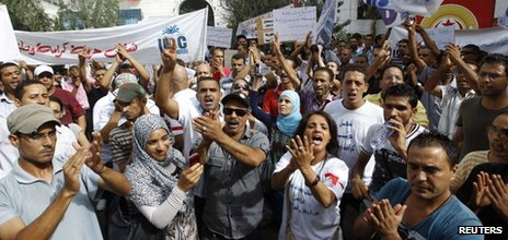 Unemployed graduates chant slogans during a demonstration demanding the right to work in Tunis, 29 September 2012