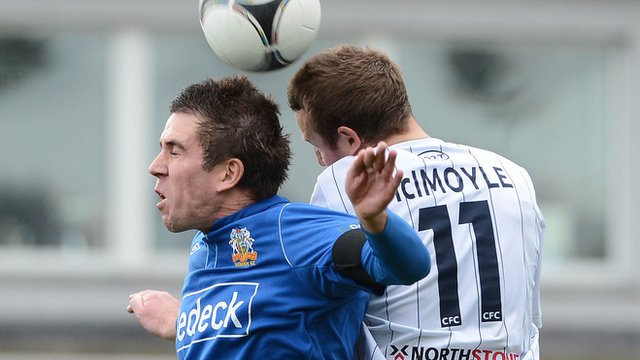 Match action from Glenavon against Coleraine
