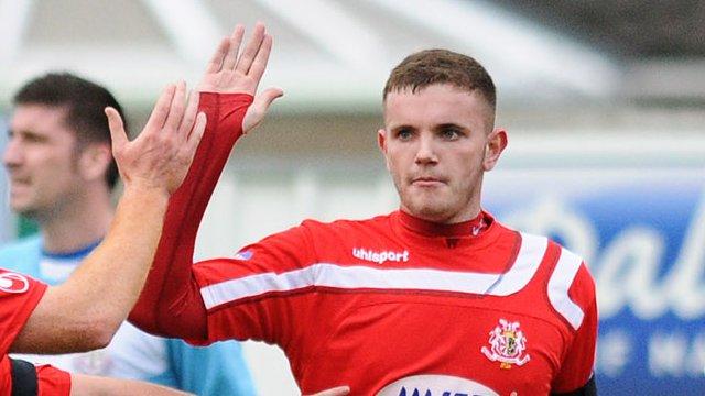Darren Murray celebrates scoring against Ballymena United
