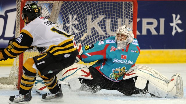 Belfast netminder Stephen Murphy makes a penalty save against Nottingham Panthers