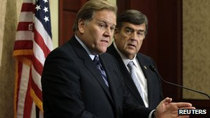 House Intelligence Committee Chairman Mike Rogers and Representative Dutch Ruppersberger hold a news conference 8 October 2012