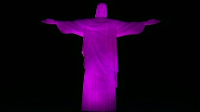 Christ the Redeemer statue bathed in pink light for breast cancer charity