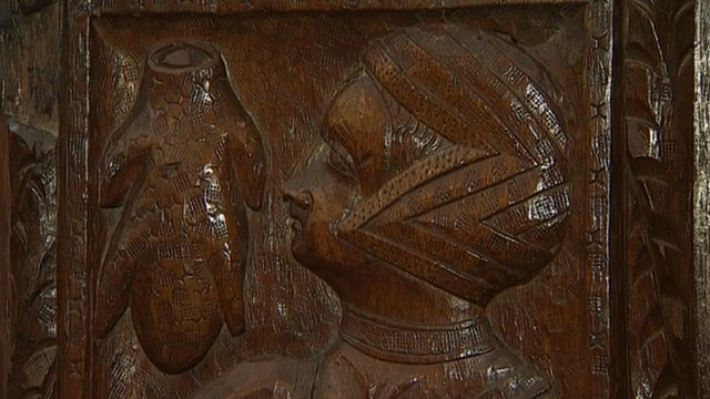 A medieval carving in a Devon church