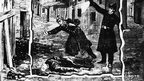 Illustration showing the police discovering the body of one of Jack the Ripper's victims, probably Catherine Eddowes, in London, in 1888. Photo by Hulton Archive/Getty Images