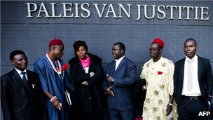 Nigerian farmers and their legal team at the law courts in The Hague. 11 Oct 2012