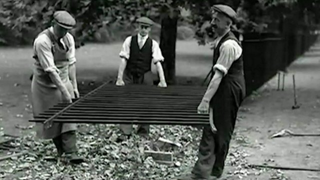 Workers with railings