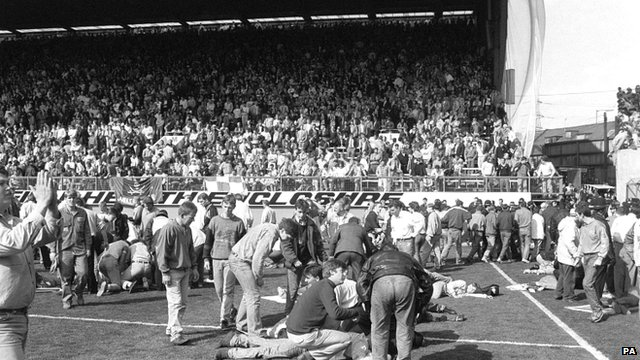 Fans being attended to after severe crushing at Hillsborough - photo dated 15/04/1989
