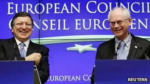 European Commission President Jose Manuel Barroso (L) and European Council President Herman Van Rompuy