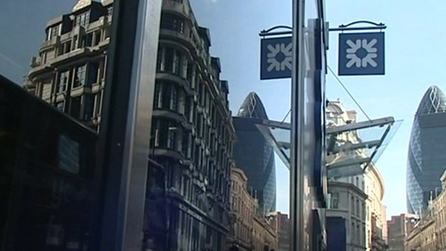 London headquarters of RBS, with sign reflecting in windows