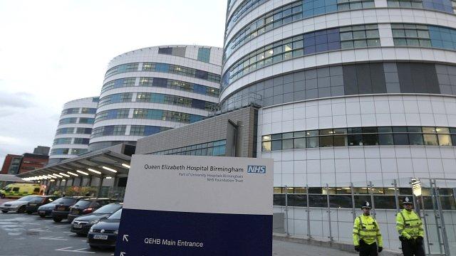 Police outside Queen Elizabeth Hospital in Birmingham