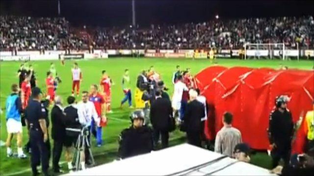 Serbian and English players clash