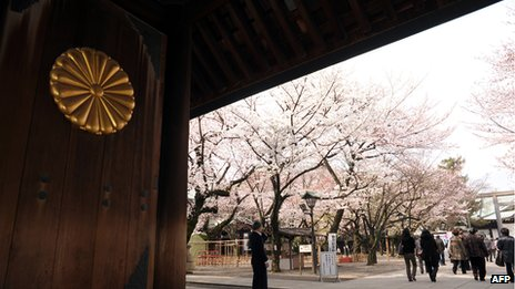 File photo: People entering the grounds at the Yasukuni Shrine in Tokyo, 6 April 2012