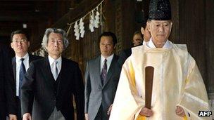 PM Junichiro Koizumi (second from left) at Yasukuni Shrine, 15 August 2006