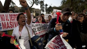 Public sector workers protest in Lima. 20 Sept 2012