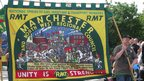 A banner made for Manchester's RMT branch