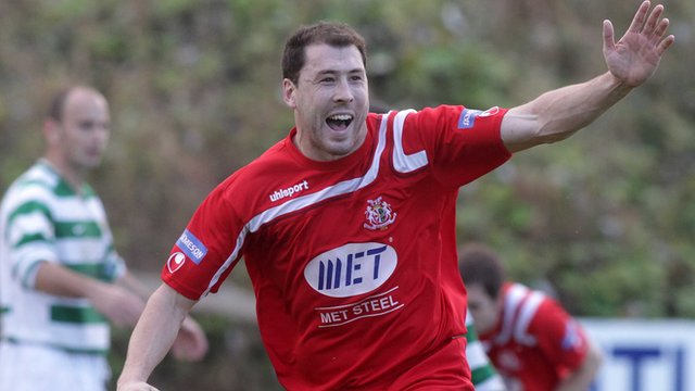 Brian Gartland celebrates scoring for Portadown against Donegal Celtic
