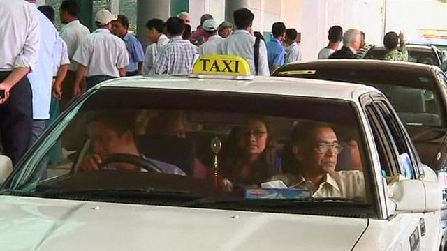 Passengers arriving at Yangon airport
