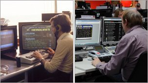 Ceefax journalists in 1981 and 2012