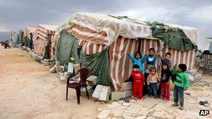 Syrian children in a refugee camp in Arsal, Lebanon (2 Oct 2012)