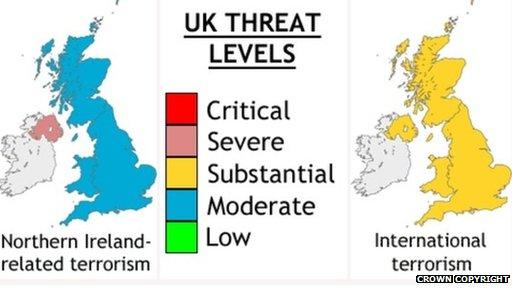 MI5 map of British Isles indicating terror threat