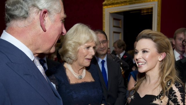 Prince Charles, the Duchess of Cornwall and Kylie Minogue