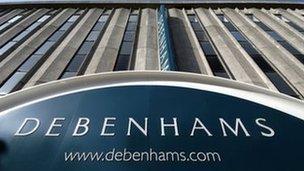 Arwydd siop Debenhams