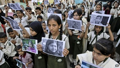 Supporters of Malala Yousufzai in Karachi