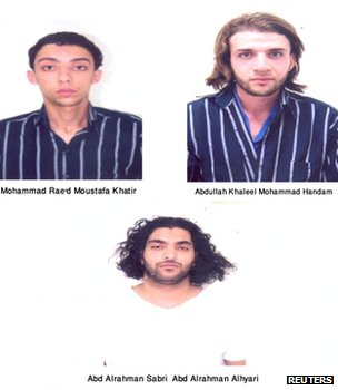Police composite photograph of suspects detained in connection with alleged al-Qaeda-linked plot in Jordan (21 October 2012)