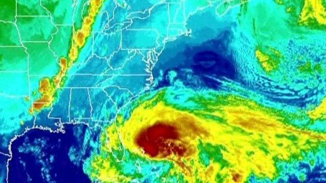 Satellite image showing Hurricane Sandy