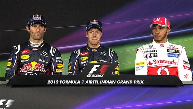 Mark Webber, Sebastian Vettel and Lewis Hamilton