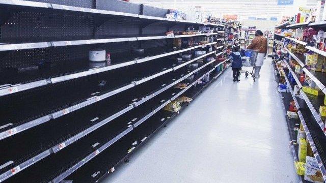 Empty shelves in New York supermarket