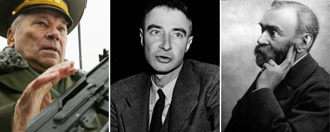 Mikhail Kalashnikov (Getty), Robert Oppenheimer (Getty), Alfred Nobel (AP)