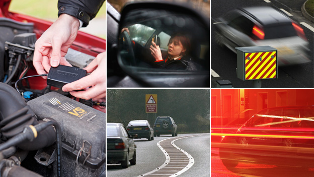 """Black box installed in car engine, woman on phone at wheel, speed camera, fast driving, corner with """"reduce speed now"""" sign"""
