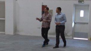 Will Hutson shows Simon Atkinson around his start-ups new HQ