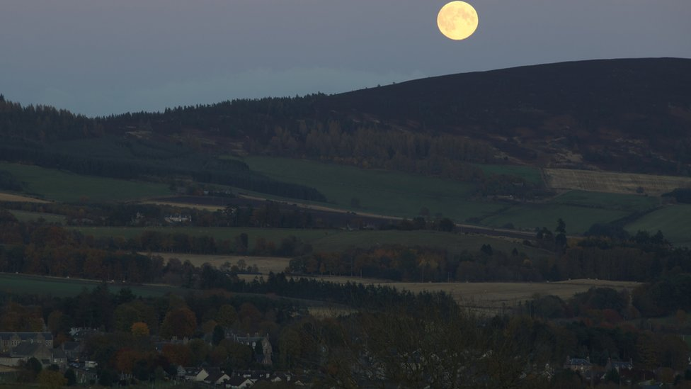 Full moon over Learney Hill and the village of Torphins