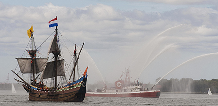 Replica of Half Moon sails into New York harbour