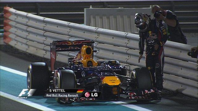 Sebastian Vettel parks his Red Bull