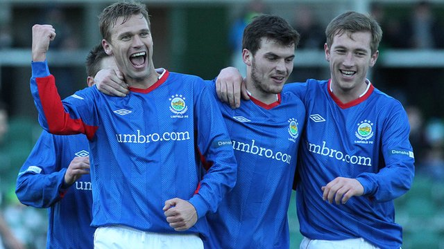 Peter Thompson, Philip Lowry and Mark McAllister of Linfield