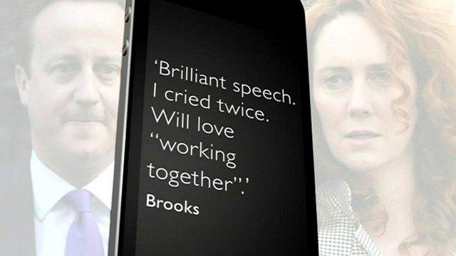 Graphic of David Cameron and Rebekah Brooks