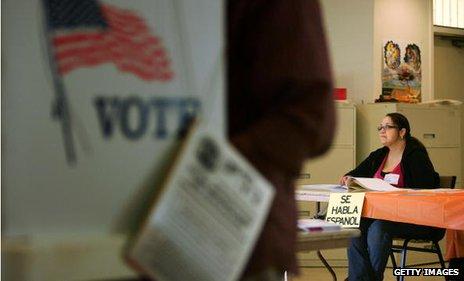 Polling booth in Latino neighbourhood