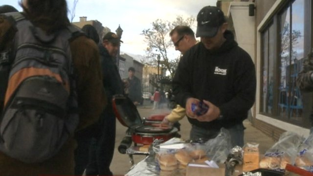 Americans cook food on pavement