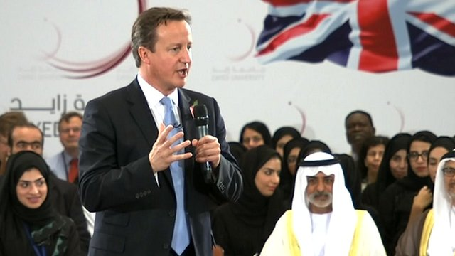 David Cameron answering students' questions in Abu Dhabi