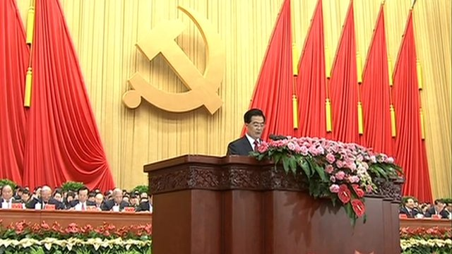 President Hu speaking at the Communist Party congress